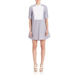 BCBG Light Blue Clipped Dot Trapeze Mini Dress